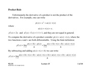 Lecture 15 on the Product and Quotient Rule