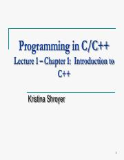 Chapter 1 - Introduction to C++