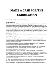 MAKE A CASE FOR THE OMBUDSMAN