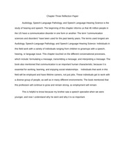 Chapter Three (Audiology) Reflection Paper