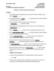 Microsoft II  Chapter 1,2,and 3 Homework Assignment (Mr. Lutz)