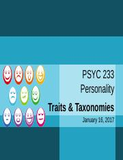 PSYC 233 - AS01 - Set 3 - Traits and Taxonomies