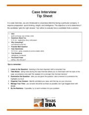 Case Interview Tip Sheet