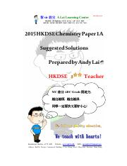 2015 HKDSE Chemistry Paper 1A Sol