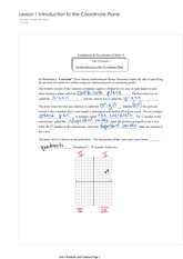 Pre-Calc 10 Introduction to the Coordinate Plane