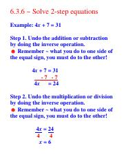 10 27 7a Hw 6 3 6 ~ Solve 2 Step Equations Example 4x 7 \u003d 31 Step Two-Step Algebra Equations 10 27 7a Hw 6 3 6 ~ Solve 2 Step Equations Example 4x 7 \u003d 31 Step 1 Undo The Addition Or Subtraction By Doing The Inverse Operation Remember ~ What