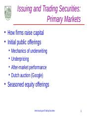 A.3 Primary Market for Securities