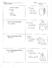 Volumes of Solids Notes
