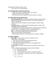Thermodynamics Chapter 6 Review Notes