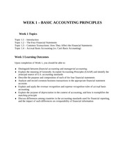 Week 1 - Basic Accounting Principles