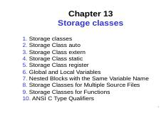 Chapter 13 pdf - Chapter 13 Storage classes 1 Storage