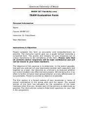 MHRM 307 Team Evaluation Form
