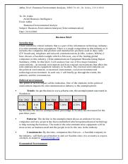 Assignment Business Brief - Business Environment Analysis.docx