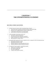 CHAPTER 1 THE INTERNATIONAL ECONOMY