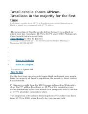 Brazil census shows African-Brazilians in the majority for the first time