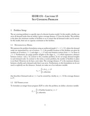 IEOR 151 - Lecture 15, Set Covering Problem - Fall 2013