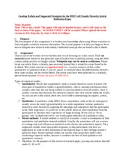 HDFS 442 Family Diversity Article Paper Rubric