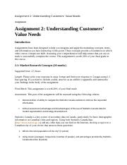 Assignment 2 Understanding Customers Value Needs.docx