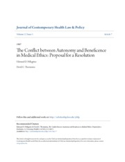 The Conflict between Autonomy and Beneficence in Medical Ethics-