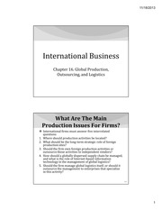 IB Chapter 16 - Global Production