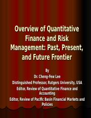 Overview of Quantitative Finance and Risk Management 0710