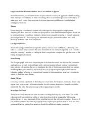 Important Cover Letter Guidelines You Can