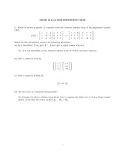 Quiz 3 Solution on Linear Algebra