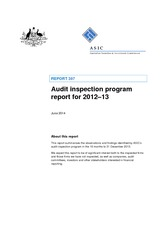 ASIC Report on Audit Inspections 2012_2013 -27-June-2014
