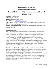Course Outline-Econ 302-Winter 2014-Section 001