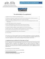 CCPR - The admissibility an application