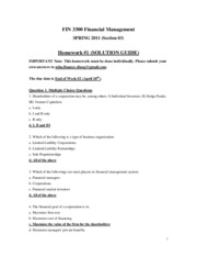 FIN3300 _SPRING 2011_ - Homework _1 _SOLUTIONS_