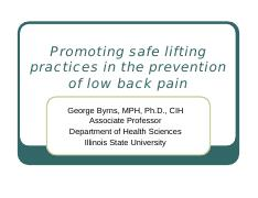 EBP Promoting safe lifting in LBP prevention 5