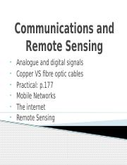 Communications and Remote Sensing