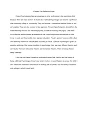Chapter Five (Clinical Psychologist) Reflection Paper