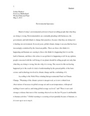 Environmental Ignorance Essay
