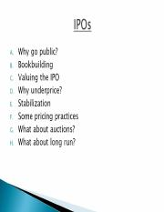 Financing through IPOs VI p