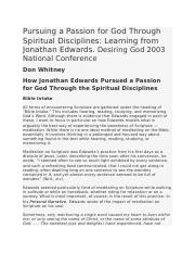 How Jonathan Edwards Pursued a Passion for God Through the Spiritual Disciplines.docx