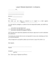 Lawyer Retainer Agreement, Contingency