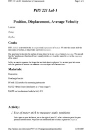 Position, Displacement, Average Velocity