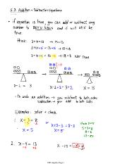 5.3 Addition + subtraction Equations