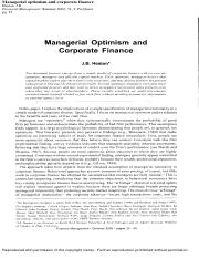 Managerial Optimism and Corporate Finance.pdf
