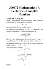 Lecture 2 - Complex Numbers