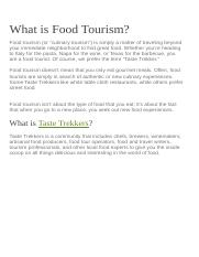 What is Food Tourism
