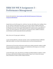 HRM 500 Week 8 Assignment 3 - Performance Management - Strayer University NEW
