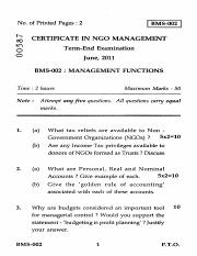 (www.entrance-exam.net)-IGNOU Certificate in NGO Management - Management Functions Sample Paper 1.pd