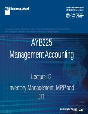 AYB225 Lecture 12  Sem2  2014
