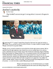 07 Aritcle - Arsène's austerity (Financial Times)