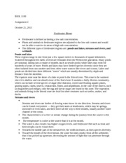 Princ Biology 1108 Assignment 2 on Freshwater Biomes