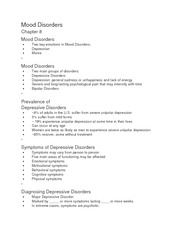 Mood Disorders ch 8 notes
