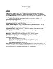 Organizations 330 Notes Chapter 1